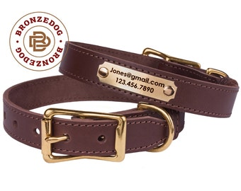 Brown Dog Collar Leather Personalized Nameplate ID Tag Brass Buckle Small Medium Large