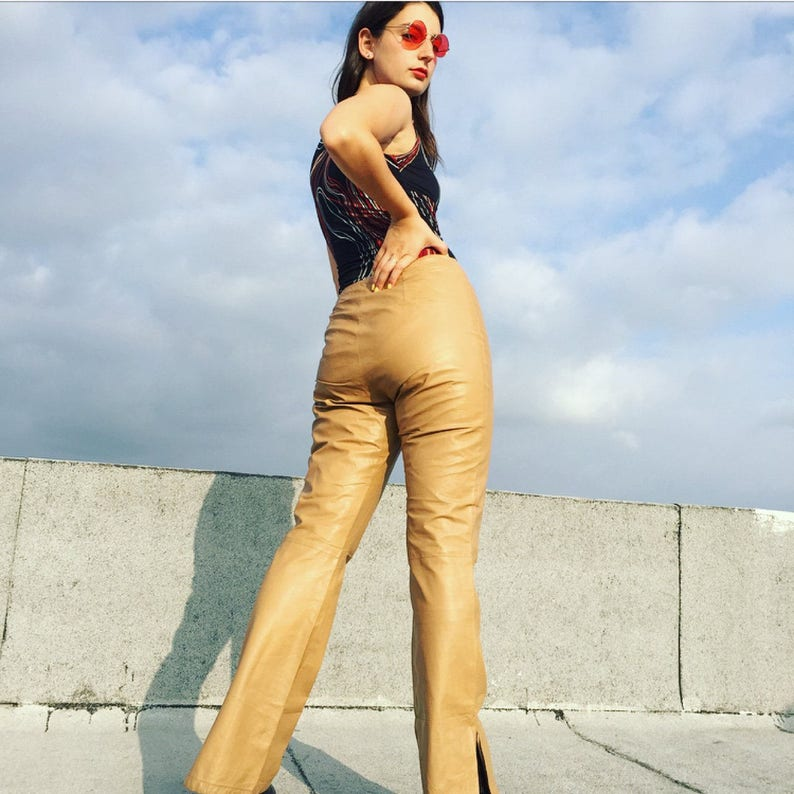 SALE Vintage 90s Tan Leather 28 Pants  Low-rise Leather Pants  Fitted Hip-hugger Trousers  PRICE REDUCE Motorcycle Rocker Pants