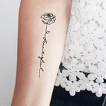 2 rose beautiful temporary tattoos / word temporary tattoo /rose temporary tattoo / calligraphy temporary tattoo / single line tattoo