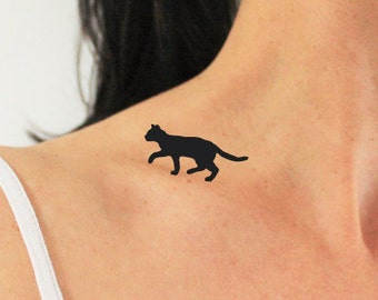 4 cats walking on my shoulder / cat temporary tattoo/ animal tattoo / silhouette cat tattoo/ black tattoo / cat lover