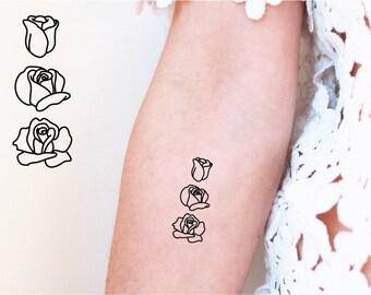 2 rose process temporary tattoos / flower temporary tattoo / blossoming flowers temporary tattoo / feminime tattoo / tiny rose tattoo
