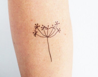 3 hand drawing flower temporary tattoos / minimalist floral temporary tattoo / artistic temporary tattoo / black dandelion temporary tattoo