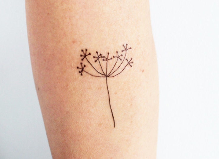 3 Hand Drawing Flower Temporary Tattoos / Minimalist