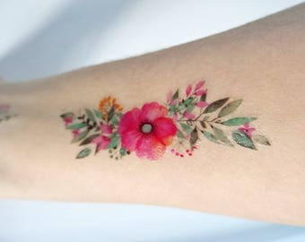 watercolor flowers temporary tattoo / watercolor tattoo / wedding tattoo / wreath tattoo / gift for her /colorful tattoo /wild flowers