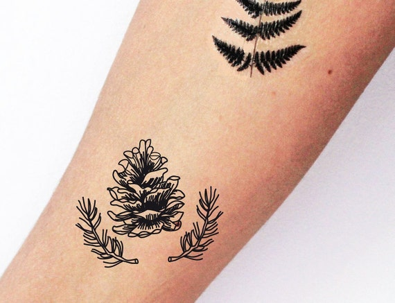 2 Tattoos Vorubergehende Pigna Aus Kiefer Wald Tattoo Etsy