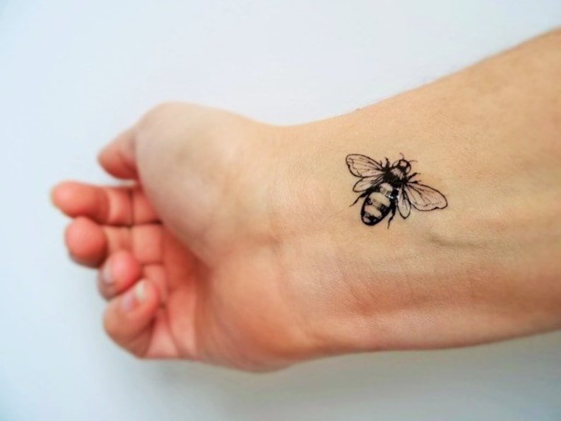 e4034358 6 bee temporary tattoos /realistic bee tattoo / vintage bees | Etsy