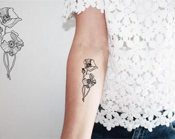 2 wild flowers temporary tattoos /  poppies temporary tattoo / flowers bouquet temporary tattoo / boho tattoo / field flowers tattoo
