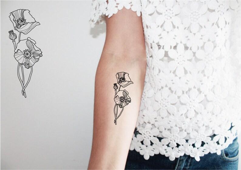 2 Tatouages Temporaires De Coquelicot Tatouage Floral Etsy