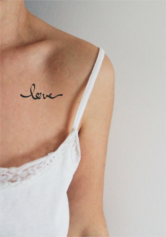 4 tatouages temporaires mot love avec coeur / tatouage mot / tatouage love  / tatouage mot calligraphié /