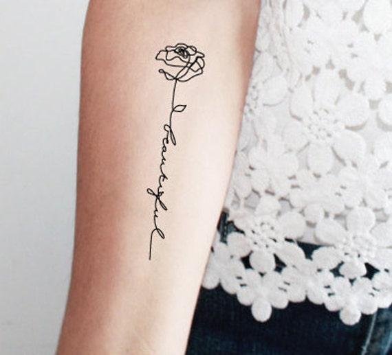2 Roses Tatouage Temporaire Mot Beautiful Tatouage Mot Etsy
