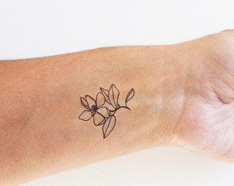 4 cherry blossoms temporary tattoos / floral temporary tattoo / flower temporary tattoo / hand- drawing tattoo / artistic tattoo