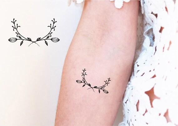 2 Tijdelijke Tatouages Bloem Kroon Bloemen Tattoo Tattoo Etsy