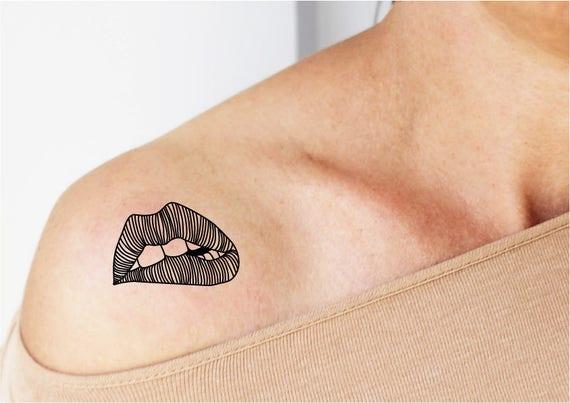 2 Tijdelijke Tatouages Mond Sexy Tattoo Tattoo Wens Etsy