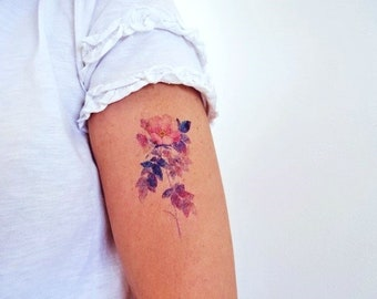 watercolor rose temporary tattoo / watercolor tattoo / wedding tattoo / wild rose tattoo / gift for her /colorful tattoo /wild flower