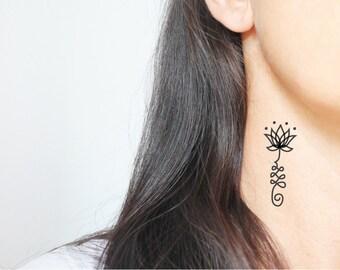 4 unalome temporary tattoos / small tattoo / black tattoo / symbolic tattoo / boho tattoo / henna tattoo