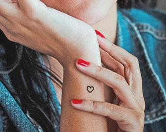 tiny heart temporary tattoos (set of 16), outline heart fake tatoo