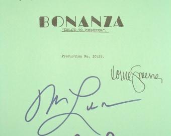 Bonanza Signed TV Script Screenplay Autographs Michael Landon Dan Blocker Lorne Greene Pernell Roberts signatures classic tv show