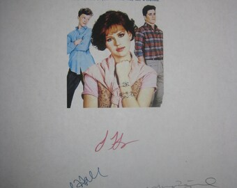 Sixteen Candles Signed Film Movie Script Screenplay Autographs Molly Ringwald Anthony Michael Hall John Hughes Signatures