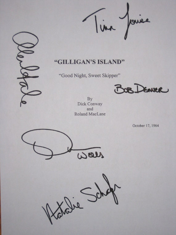 gilligan s island signed tv script screenplay autograph x5 etsy