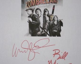 Zombieland Signed Film Movie Screenplay Script Autographs Woody Harrelson Bill Murray signatures reprint