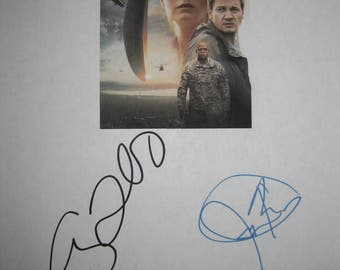 Arrival Signed Film Movie Screenplay Script X4 Autograph Amy Adams Jeremy Renner Forest Whitaker Michael Stuhlbarg signature oscar nominated