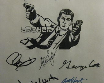 Archer Signed TV Script Screenplay X9 Autograph H Jon Benjamin Chris Parnell Judy Greer Aisha Tyler Jessica Walter Amber Nash George Coe