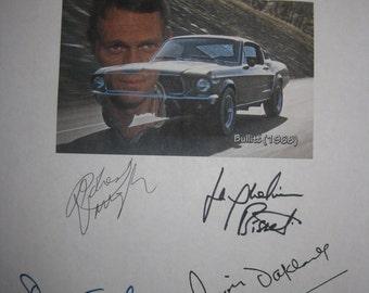 Bullitt Signed Film Movie Screenplay Script Autographs X6 Steve McQueen Robert Vaughn Duvall Jackueline Bisset Don Gordon Simon Oakland