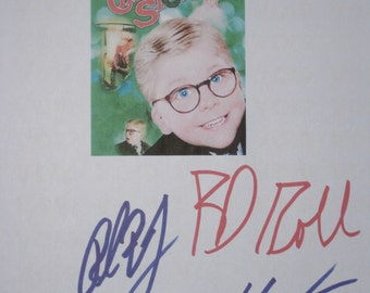 A Christmas Story Signed Movie Film Screenplay Script X3 Autographs Peter Billingsley R.D. Robb Zack Ward signatures holiday classic