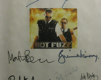 Hot Fuzz Signed Film Movie Screenplay Script X9 Autograph Simon Pegg Nick Frost Bill Nighy Edgar Wright Martin FreemanBill Bailey Whitelaw