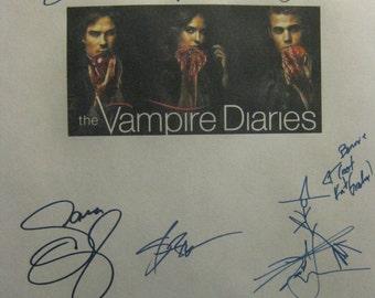 The Vampire Diaries Signed TV Script Screenplay X11 Autographs Nina Dobrev Paul Wesley Ian Somerhalder Steven R. McQueen Sara Canning rpnt