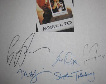 Memento Signed Film Movie Screenplay Script X11 Autograph Guy Pearce Carrie Anne Moss Thomas Lennon Christopher Nolan Mark Boone Junior