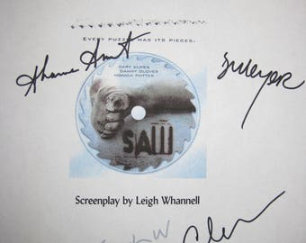 SAW Signed Film Movie Screenplay Script X5 Autograph Danny Glover Shawnee Smith Leigh Whannell Cary Elwes Dina Meyer signature horror