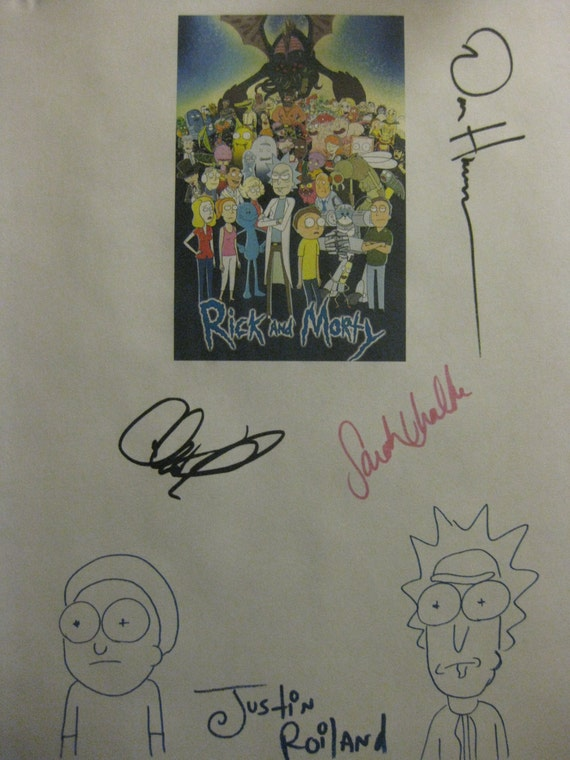 rick and morty signed tv pilot script screenplay x4 autograph etsy