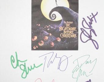 The Nightmare Before Christmas Signed Movie Film Script Screenplay X6 Tim Burton Paul Reubens Chris Sarandon Danny Elfman  autograph cartoon