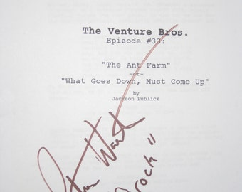 The Venture Brothers Signed TV Script Screenplay Autograph Signature Pat Warburton Cartoon