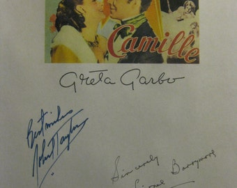 Camille 1936 Signed Film Movie Screenplay Script Autograph Greta Garbo Robert Taylor Lionel Barrymore Henry Daniell Lenore Ulric signatures