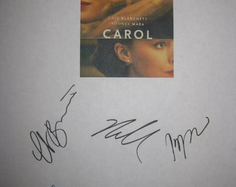 Carol Signed Film Movie Script Screenplay + Production Notes Autograph X7 Cate Blanchett Rooney Mara Kyle Chandler Sarah Paulson Todd Hayes
