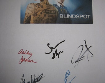 Blindspot signed TV script Screenplay X5 Autograph Jaimie Alexander Sullivan Stapleton Rob Brown Ashley Johnson Johnny Whitworth signature