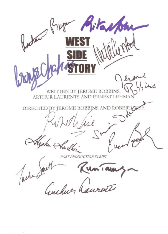 west side story signed film movie musical screenplay script etsy
