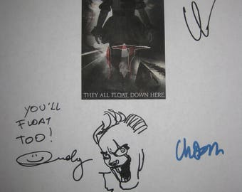 IT Signed Film Moive Script Screenplay X8 Autograph Stephen King Bill Skarsgard Finn Wolfhard Sophia Lillis Andy Muschietti Jaeden Lieberher