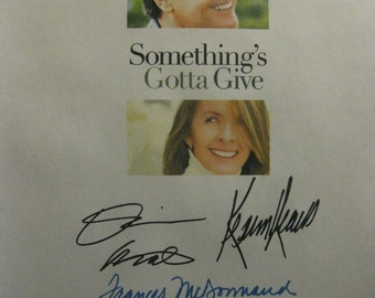 Something's Gotta Give Signed Movie Film Script Screenplay X7 Autographs Jack Nicholson Diane Keaton Keanu Reeves Frances McDormand Favreau