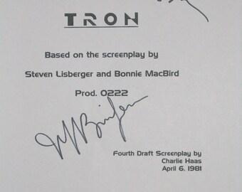 Tron Signed Movie Film Screenplay Script Autographs Jeff Bridges Barnard Hughes Bruce Boxleitner signatures classic films