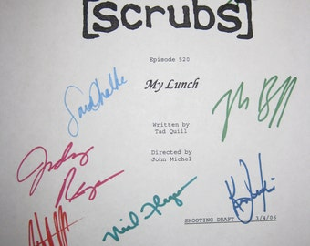 Scrubs Signed TV Script Screenplay X7 My Lunch Zach Braff Sarah Chalke Neil Flynn Donald Faison Judy Reyes Ken Jenkins John C McGinley