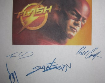 The Flash Signed TV Screenplay Script X7 Autographs Grant Gustin Candice Patton Danielle Panabaker Tom Cavanagh Jesse L. Martin Rick Cosnett