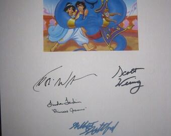 Aladdin Signed Movie film Script Screenplay X4 autograph Robin Williams Scott Weinger Linda Larkin Gilbert Gottfried cartoon signature