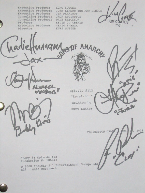 Sons Of Anarchy Cast Signed Tv Screenplay Script Autographs Etsy