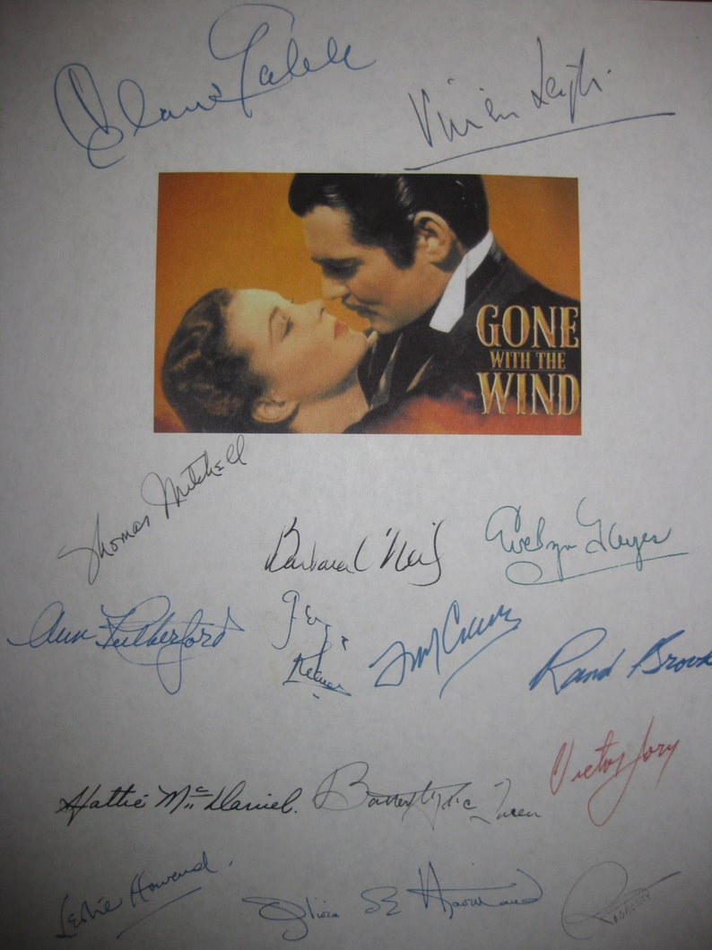 Gone With The Wind Signed Film Movie Script Screenplay Etsy