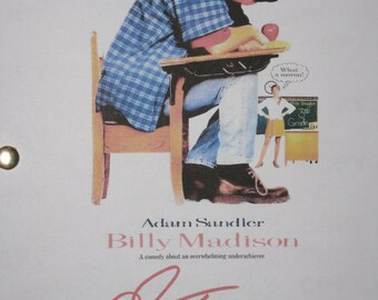 Billy Madison Signed Movie Film Screenplay Script Autograph Adam Sandler signature funny film