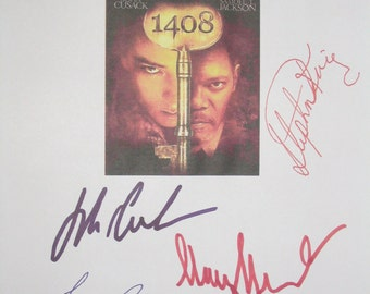 1408 Signed Movie Film Script Screenplay John Cusack Stephen King Samuel L. Jackson Tony Shalhoub Mary McCormack autographs signature horror