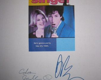 The Wedding Singer Signed Movie Film Screenplay Script Autograph Adam Sandler Drew Barrymore signature classic funny movie